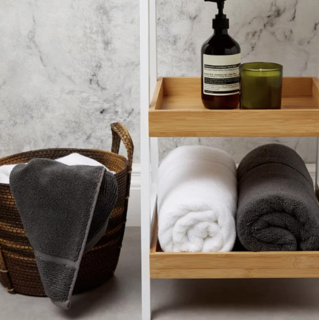 panda london eco bamboo towel pure white and urban grey bathroom essentials