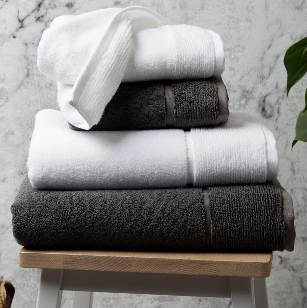 panda london eco bamboo towel pure white and urban grey folded
