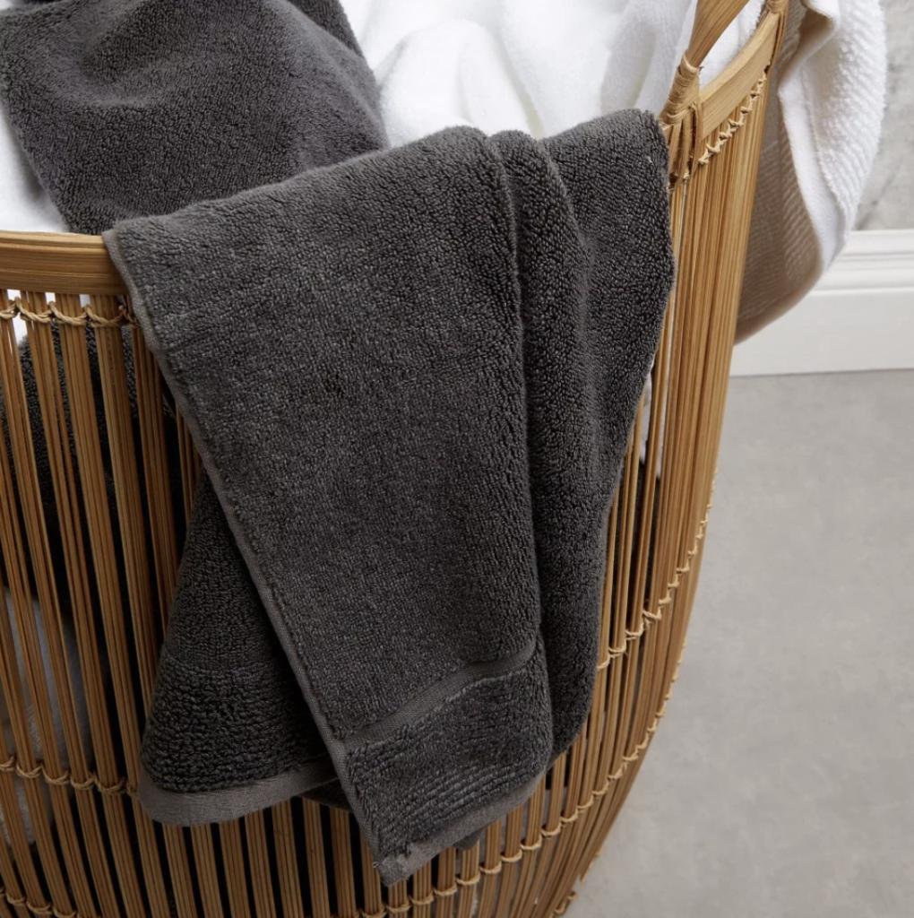 panda london eco bamboo towel pure white and urban grey in basket